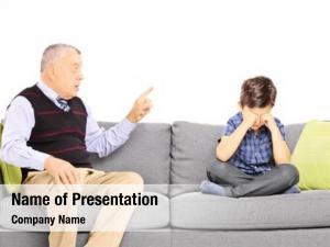Shouting angry grandad his nephew,