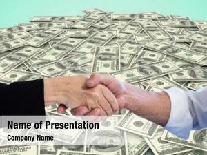 Handshake digital composite close up money