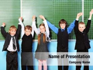 Classroom cheerful schoolchildren