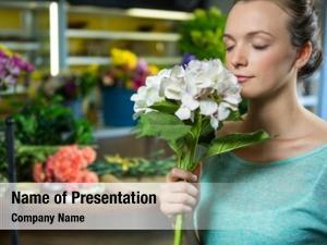 Flower bouquet woman smelling a bunch