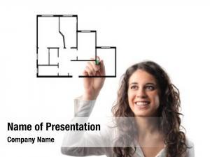 Drawing smiling woman plan house