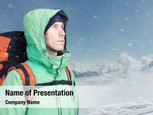 Man alpinist looks