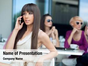 Beauty stunning brunette using cellphone