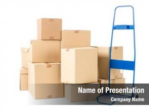 Pile hand truck cardboard boxes