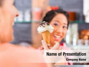 Customer young female saleswoman ice