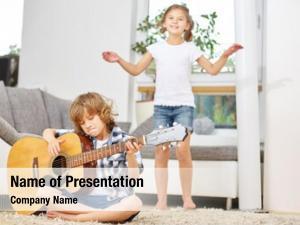 Music boy playing guitar girl