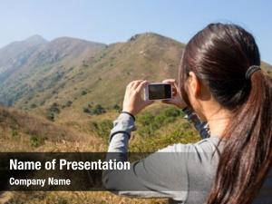 Photo woman take digital camera