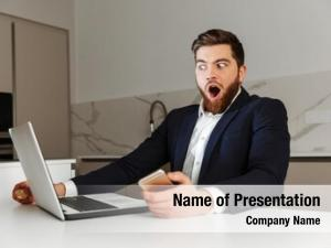 Young portrait shocked businessman dressed