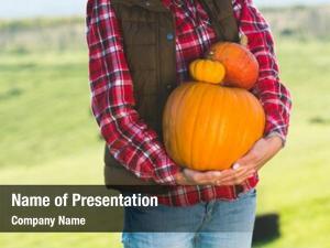 Woman halloween pumpkins, collecting pumpkins
