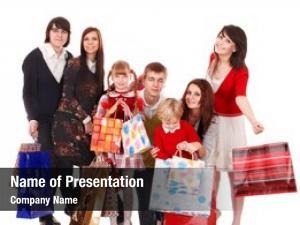 Children happy family shopping bag