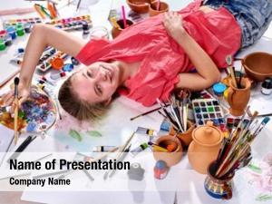 Children authentic artist girl paints