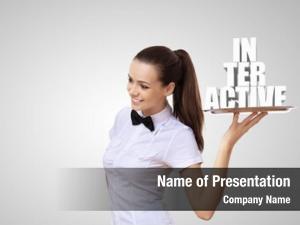 Tray waitress holding word interactive