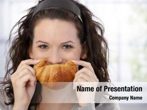 Posing cheerful woman croissant smile