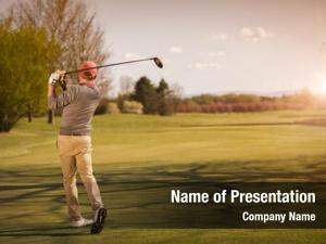Player male golf swinging golf