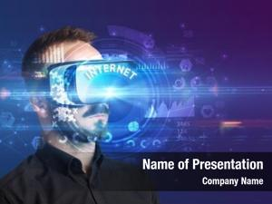 Through businessman looking virtual reality