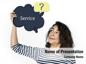 Online service speech woman holding