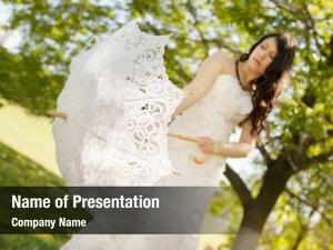 Cookie bride holding lace umbrella,
