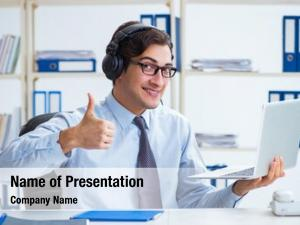 Operator call center talking customer