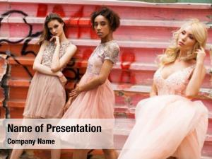 Three street fashion models pink