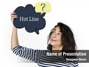 Customer support speech woman holding
