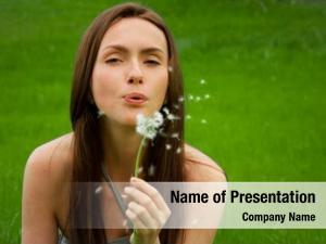 Green girl dandelion field