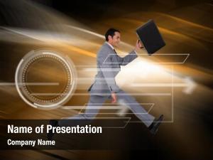 Suitcase businessman running against orange