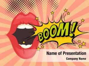 Woman speech bubble lips pop art