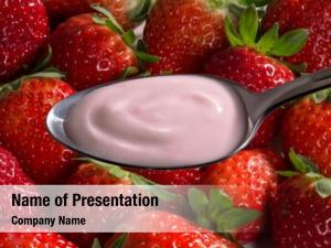 Cream strawberry yogurt spoon strawberry