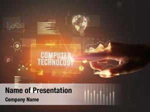 Computer hand touching technology inscription,