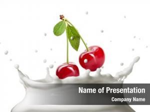 Into cherry dropped milk splash
