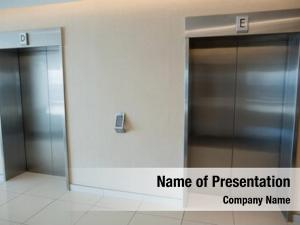Elevator two modern doors lobby