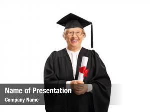 Graduate senior woman diploma white