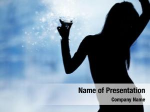 Women dancing silhouettes champagne nightclub