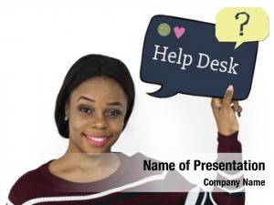 Customer service woman holding speech