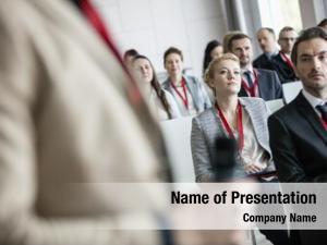 Public businessman looking speaker convention