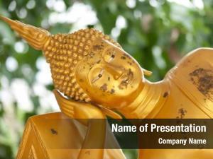 Buddha reclining golden statue thailand