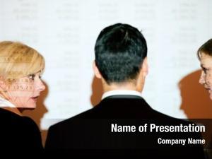 Standing business team front spreadsheet