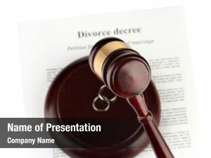 Wooden divorce decree gavel white