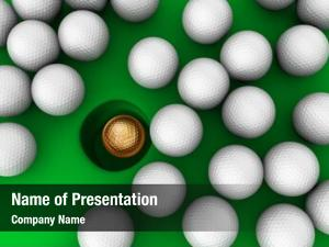 Ball gold golf cup surrounded