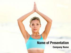 Yoga woman doing beach meditating