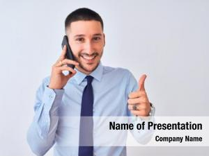 Business young handsome man calling