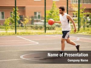 Sportswear young basketballer ball running