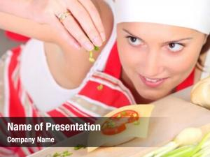 Woman picture focused seasoning sandwich