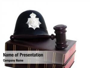 Gavel police helmet, law books