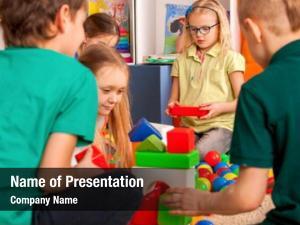 Blocks children building kindergarten