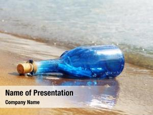 Glass bottle of blue