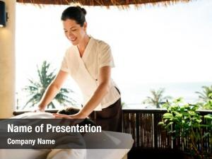Therapist female massage giving massage