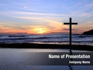 Beach christian cross sunset