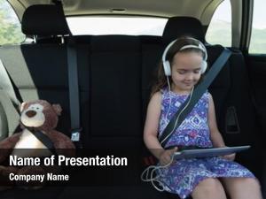 Listening cute girl music headphone