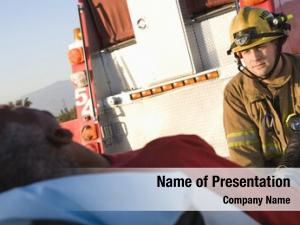 Patient firefighter looking ambulance
